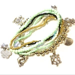 Collection of stretch beaded bracelets